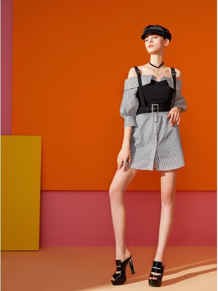 百丝女装品牌2019秋季新品时尚个性条纹外搭吊带上衣两件套套装