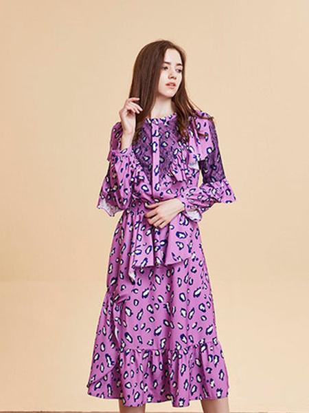 尚来女装品牌2019秋季创意图案连衣裙