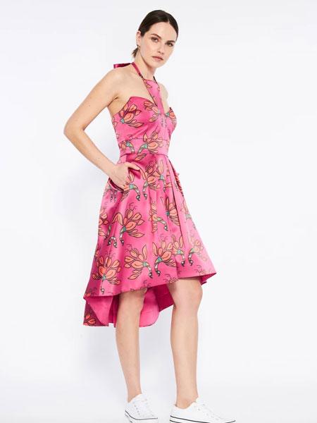 Emma Wallace女装品牌2019秋冬红色印花裙子