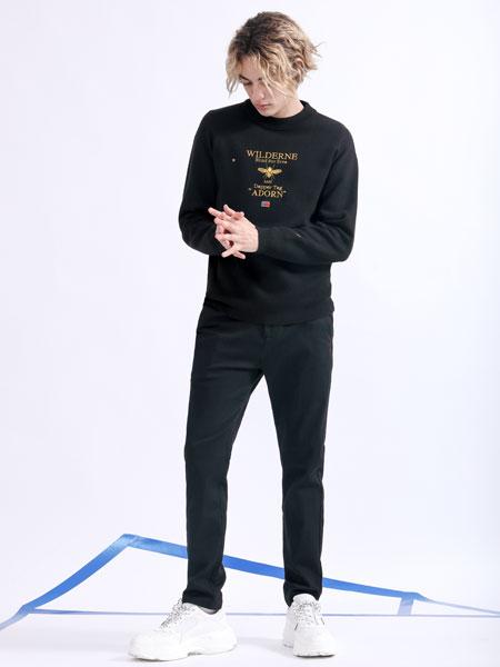 莎斯莱思男装品牌2019秋季黑色印花卫衣