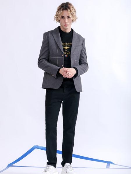 莎斯莱思男装品牌2019秋季灰色西装外套