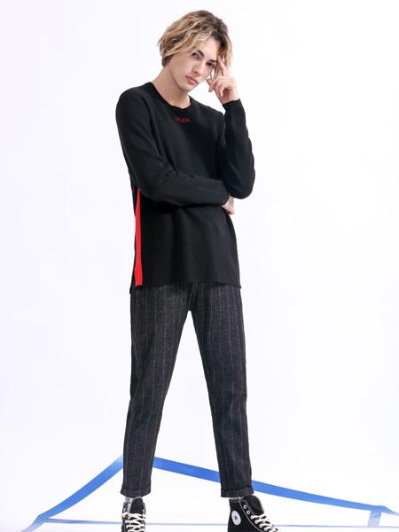 莎斯莱思男装品牌2019秋季黑色字母印花卫衣
