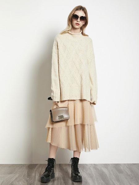 例格女装品牌2019秋冬新款韩版套头宽松长袖纯色时尚休闲毛针织衫