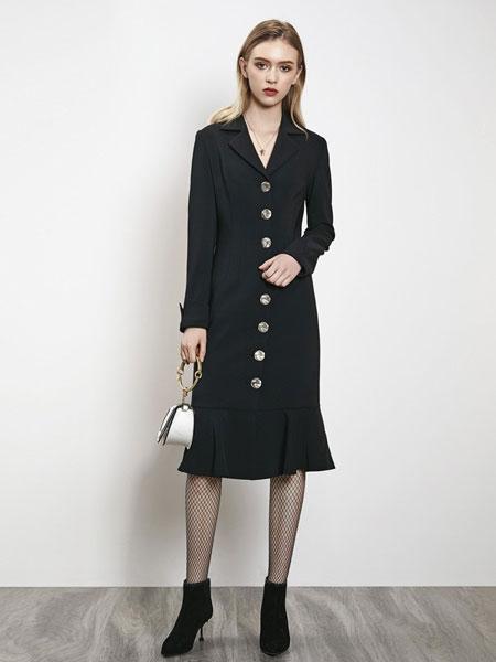例格女装品牌2019秋冬新款气质西装领连衣裙拼接时尚网纱蛋糕裙