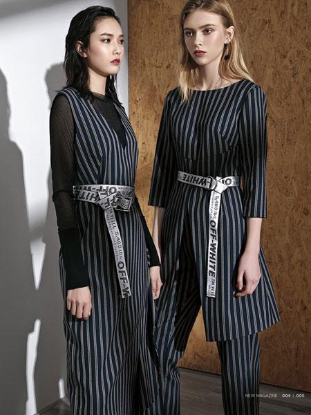 例格女装品牌2019秋冬新款时尚针织长袖背带连体裤两件套条纹阔腿裤套装