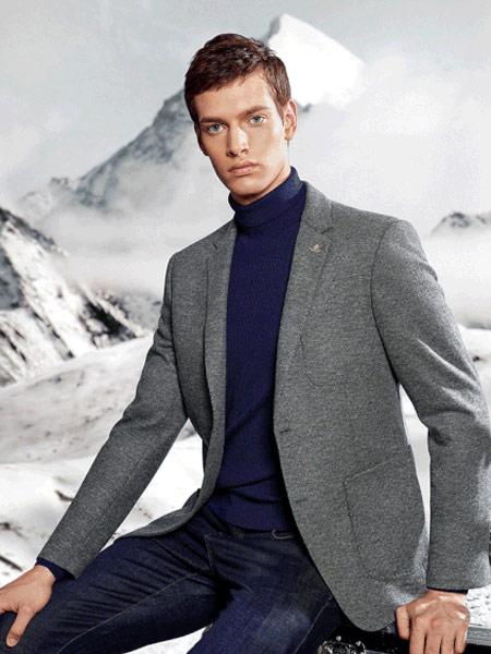 名盾男装品牌2019秋冬灰色西装外套