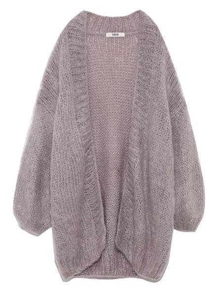 FURFUR女装品牌2019秋冬淡紫色毛衣