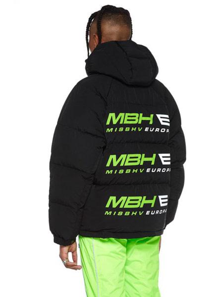 Misbhv国际品牌品牌2019秋冬字母印花黑色羽绒服