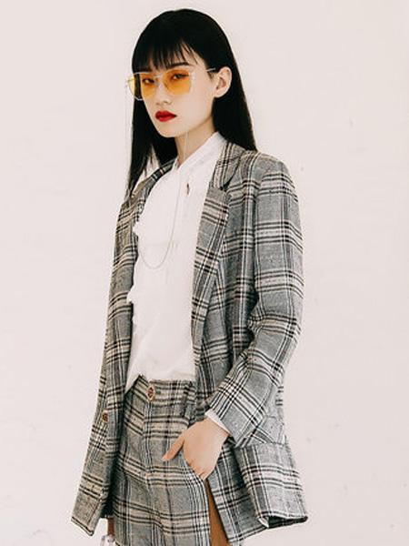 JAMEI CHEN 陳季敏女装品牌2019秋冬格子休闲西装外套