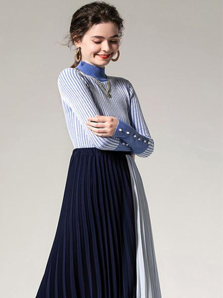 画甸女装品牌2019秋季高领修身毛衣