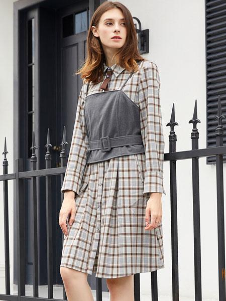 金蝶茜妮女装品牌2019秋冬新款韩范假两件上衣显瘦中长款收腰衬衣
