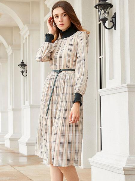 金蝶茜妮女装品牌2019秋冬显瘦气质时尚印花连衣裙