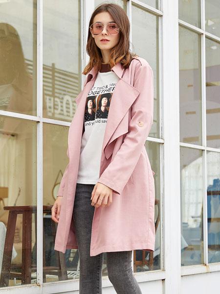 金蝶茜妮女装品牌2019秋冬百搭收腰中长款小个子时尚大衣外套
