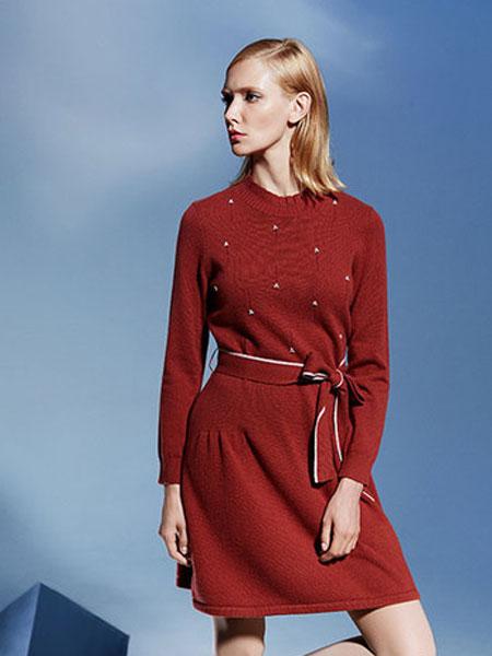 印象草原女装品牌2019秋冬冬小立领假两件长袖镂空设计羊毛衫