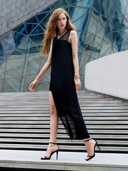 37°生活美学女装品牌2019春夏新款假两件网纱拼接无袖连衣裙
