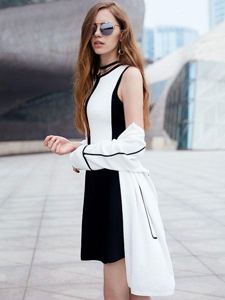 37°生活美学女装品牌2019春夏新款气质时尚洋气不规则收腰无袖连衣裙