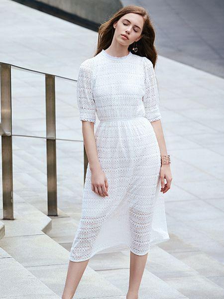 37°生活美学女装品牌2019春夏新款韩版唯美清新蕾丝高腰中袖连衣裙