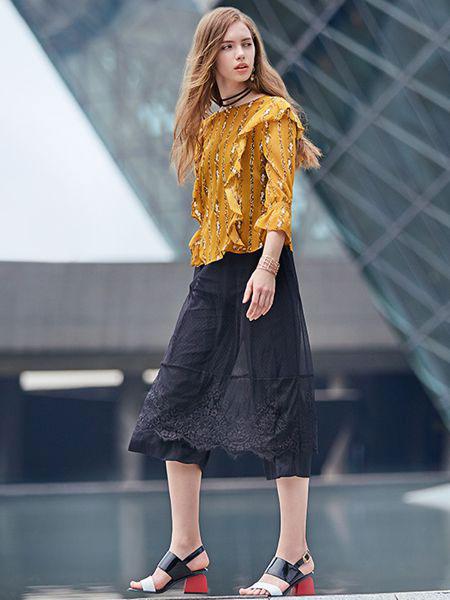 37°生活美学女装品牌2019春夏新款碎花上衣小清新长袖洋气打底衫