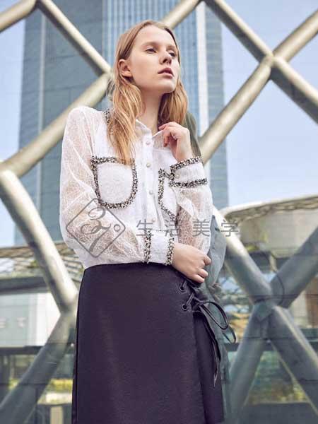37°生活美学女装品牌2019春夏新款单排扣气质百搭显瘦上衣白色衬衫