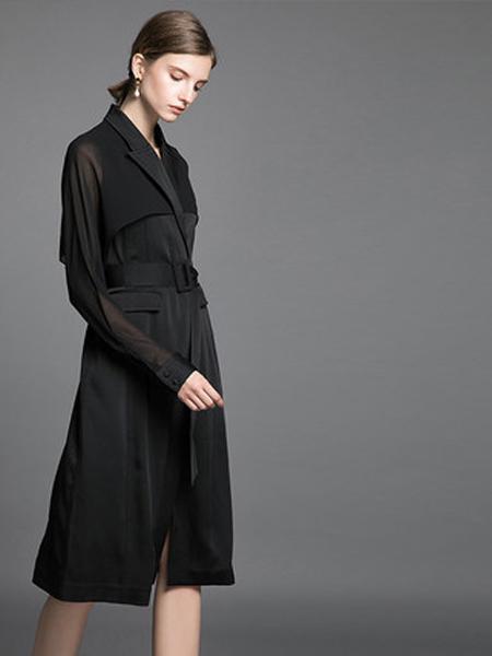格纶雅女装品牌2019秋冬蕾丝收腰连衣裙