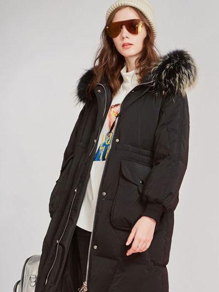 欧炫尔女装品牌2019秋冬加厚潮可收腰保暖大毛领白鸭外套