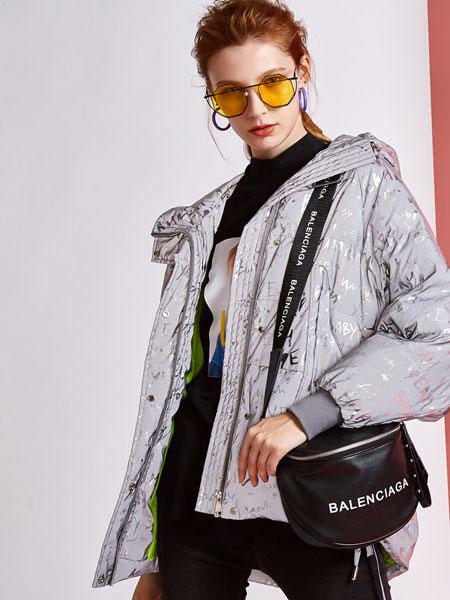 欧炫尔女装品牌2019秋冬短款时髦雾霾蓝外套中长款羽绒服