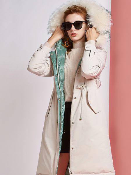 欧炫尔女装品牌2019秋冬长款过膝外套显瘦韩版皮草新款