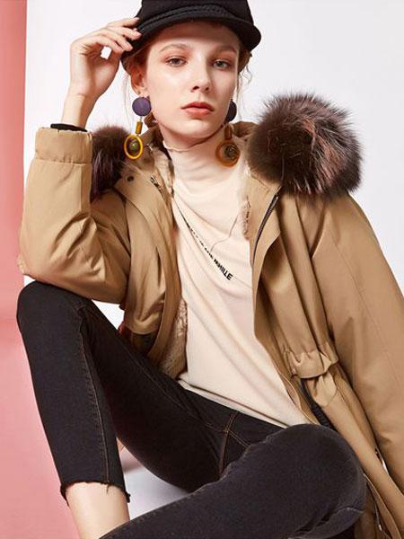 欧炫尔女装品牌2019秋冬收腰修身长款过膝派克服皮草外套