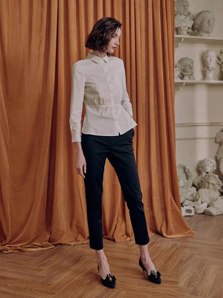 雅迪斯女装品牌2019秋冬珍珠白衬衣