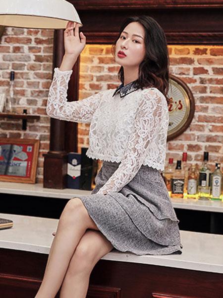柯兰诺女装品牌2019秋冬蕾丝上衣