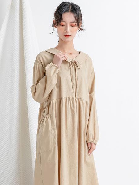 本依凡女装品牌2019秋季棉麻宽松连衣裙