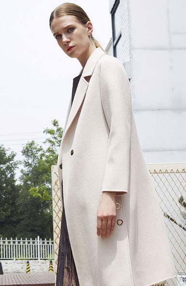 吉妮女装品牌2019秋冬芈杰长袖西装修身羊毛毛呢外套女秋装时尚风衣