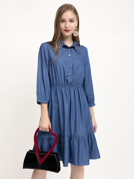 木丝语女装品牌2019秋冬宽松气质连衣裙
