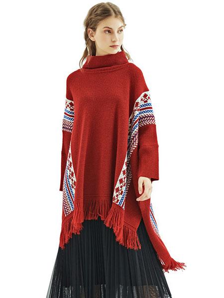 丽迪莎女装品牌2019秋冬宽松高领针织毛衣