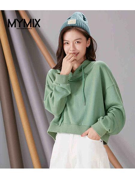 MYMIX(我的组合)女装品牌2019秋冬牛油果色连帽卫衣