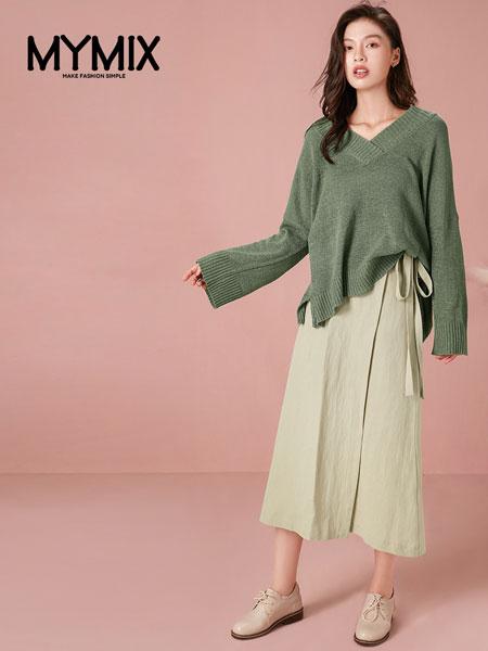 MYMIX(我的组合)女装品牌2019秋冬牛油果色针织毛衣
