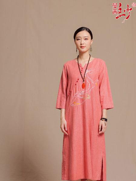 曼茜纱女装品牌2019秋冬复古立领民族风女秋季刺绣袍子