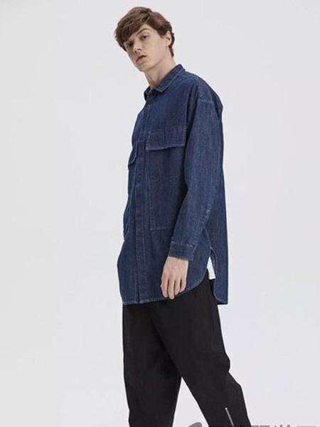 一泽男装品牌2019秋季丝质拼接原色牛仔衬衫