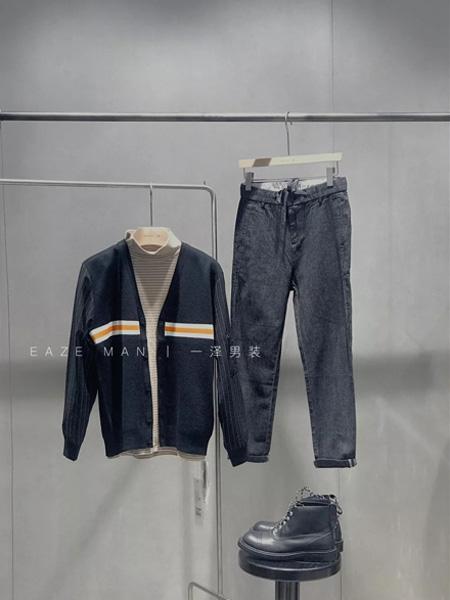 一泽男装品牌2019秋季潮牌休闲针织衫复古外套