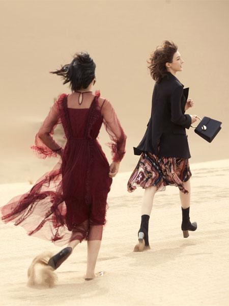 红袖女装品牌2019秋冬气质纱裙连衣裙