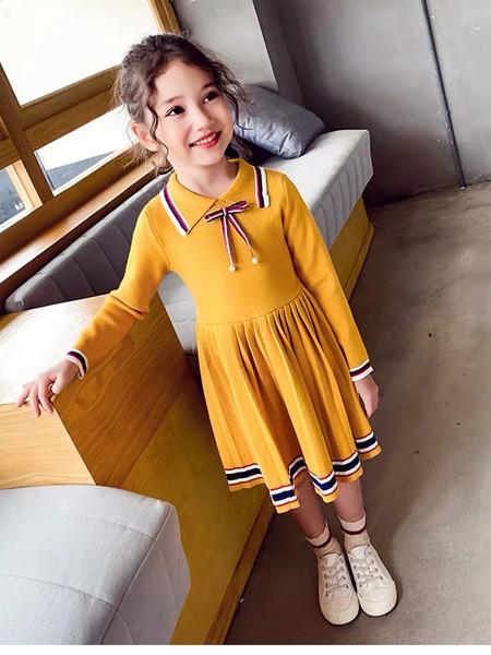 快乐精灵童装品牌2019秋季裙子小女孩韩版针织毛衣裙