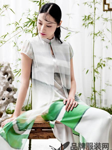 衡韵女装品牌2019春季国风改良中式A字旗袍连衣裙