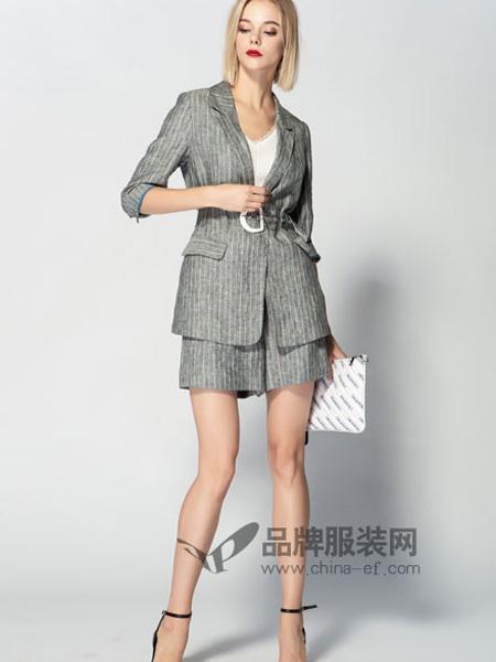 JA&EXUN女装品牌2019秋冬格纹显瘦洋气棉麻两件套女装潮