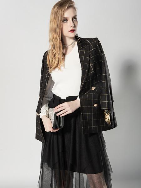 JA&EXUN女装品牌2019秋冬长袖时尚英伦风律师西装气质