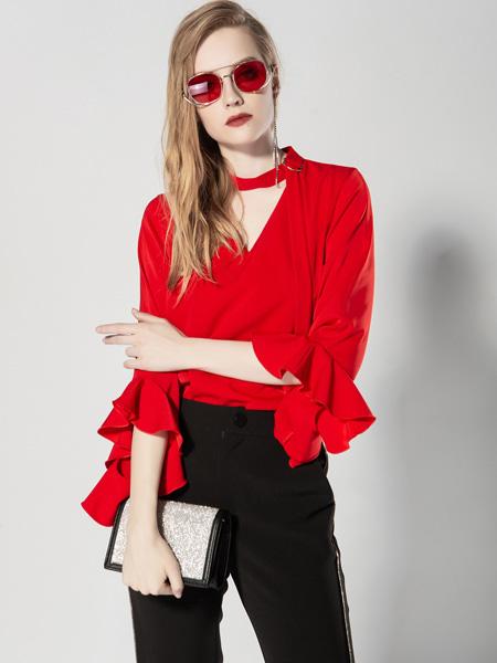 JA&EXUN女装品牌2019秋冬法国小众设计荷叶边袖雪纺衬衫女个性套头衬衣