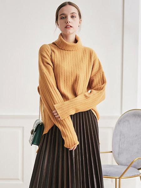JA&EXUN女装品牌2019秋冬套头羊毛衣女打底针织衫保暖
