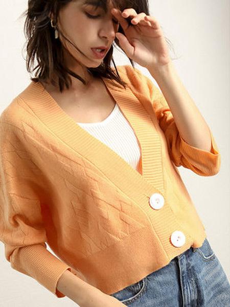 JA&EXUN女装品牌2019秋冬短款毛针织开衫外套女短外套