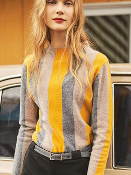 JA&EXUN女装品牌2019秋冬条纹半高领羊毛衫女气质毛衣