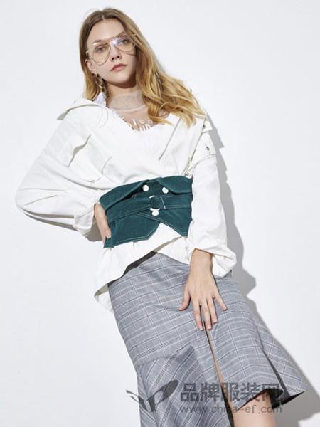 你即永恒女装品牌2019秋冬时尚个性设计感衬衣弹力复古牛仔腰封