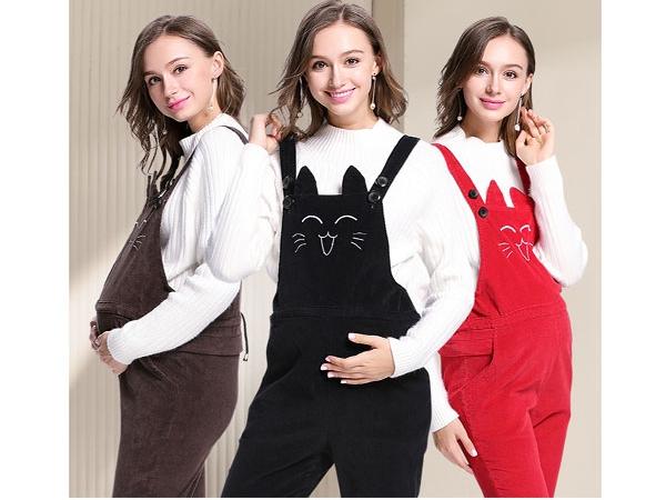 婧麒孕妇装品牌2019秋冬孕妇背带裤